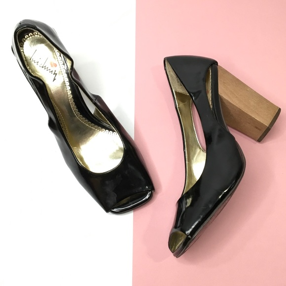 Lui Chung Patent Peep Toe Block Heel Pumps